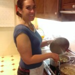 Jen cooking soup in condo located in Marbella, Spain
